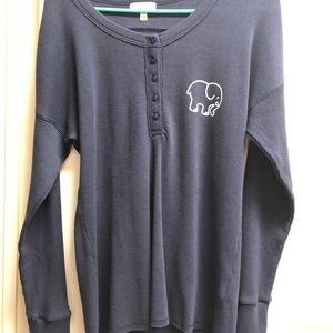 Ivory Ella, long sleeve, navy blue, half button up